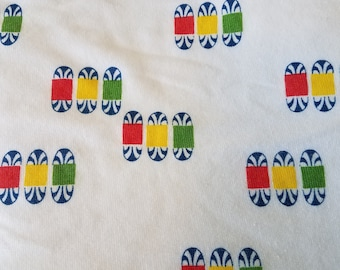 Vintage Cotton Knit Art Deco Meets Mod 1 5/8 Yards - Primary Colors Rasta - Geometric Novelty Knit Print Rastafarian