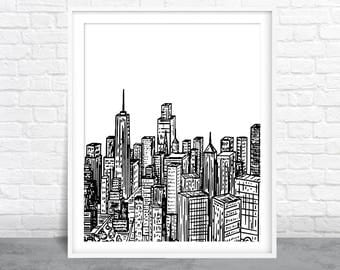 City Art, Cityscape Sketch, Ink Design, Black and White