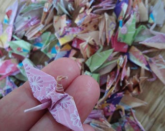 Ready to ship!100 small Multicolored Flower Origami paper crane,Make a wish,Washi Chiyogami,Cute Origami crane,wedding,party,Decoration,Card