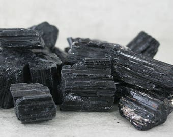 Raw Black Tourmaline Crystal Specimen, ONE Natural Rough Black Tourmaline Nugget Specimen, Chakra Stone, Collector Specimen, Black Crystal