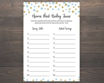 Blue and Gold Baby Shower Games, Name that Baby Tune, Name that Baby Song, Name that Song Game, Boy Baby Shower, Printable Shower Game, GB5