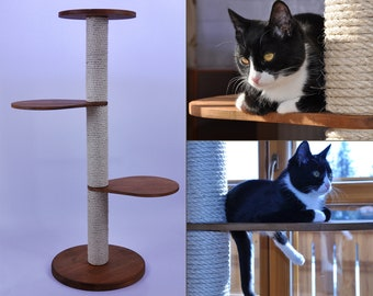 """Cat Tree """"Basic 3M"""" - stable, heavy base, beautiful and sturdy. Solid wood. Handmade cat accessories, pet accessories, cat furniture"""