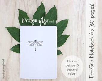 Dot Grid Notebook, Travelers Notebook Insert, Bullet Journal, Bullet Journal Notebook, A5 Notebook, Midori Insert, Dragonfly Print