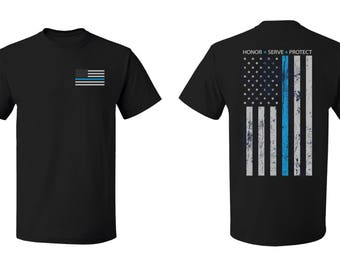 Thin Blue Line Shirt Police USA Flag  Police Lives Matter T-Shirt-Serve, Honor, Protect
