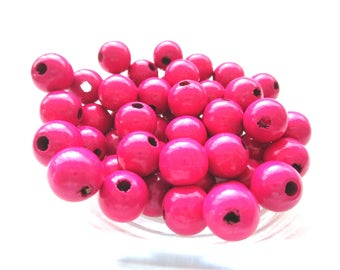 50 wooden 10mm - Fuchsia pacifier beads