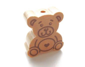 Large bear natural wooden bead
