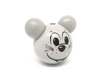 Wooden 3D gray mouse head bead