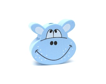 Head of Hippo blue wooden bead