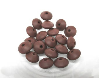 10 beads flat Silicone - chocolate