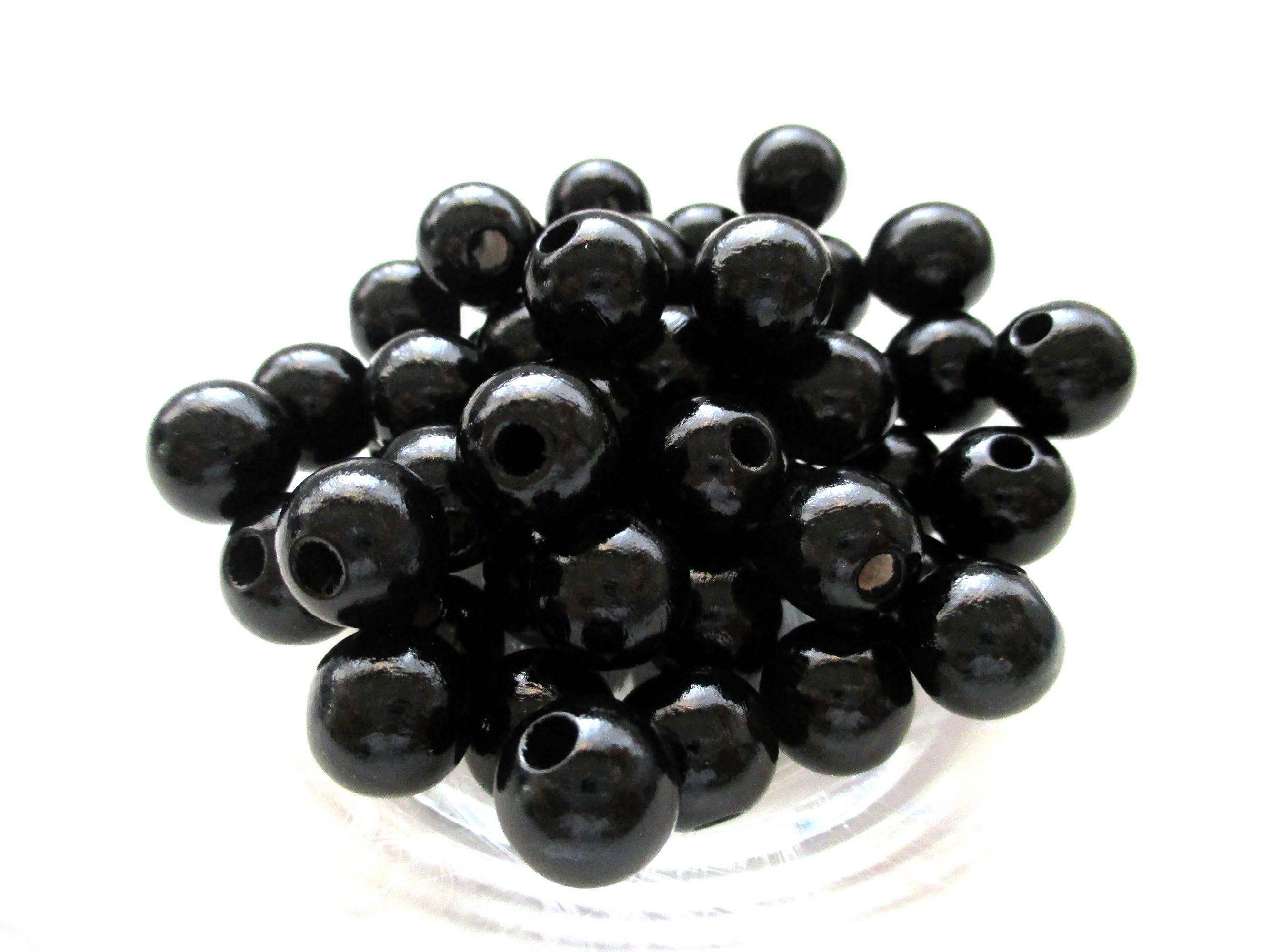 50 perles en bois pour attache t tine 8mm noir - Perle en bois pour attache tetine ...