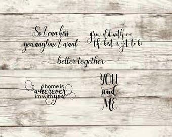 set of 5 couple sayings SVG