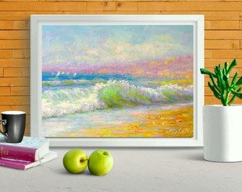 "Sailboat original oil painting 10x15"" sunny seascape impressionim ocean painting fine art home sitting room hall interior decor salatov"