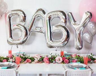 """Huge 40"""" BABY Silver Foil balloons. Baby Shower and Birthday, Party Decorations...etc..."""