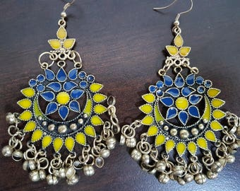 Yellow and Blue Enamel Silver oxidised long chandelier chandbalis party festive wear