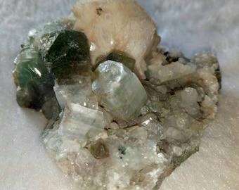 Green Apophyllite, 2'', Stilbite, 85g,Dark Green , Double terminated, Apophyllite Druzy, India, cluster, Specimen, Collector