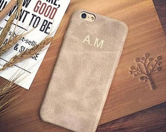 Personalised Beige Vintage PU Leather Phone Case for Apple iPhone 5 6 6s 7 8 10 X Plus Embossed Name initials Customized Cover Monogram