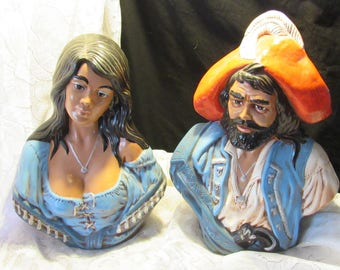 Pair of Man and Woman Pirate Ceramic Busts Holland Mold