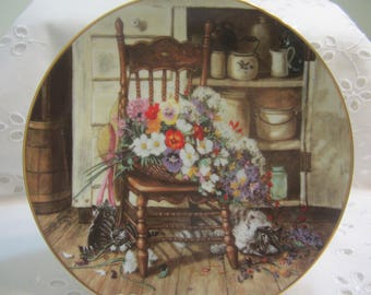 Vintage Collector Plate Painted by Glenna Kurz Country Cuttings