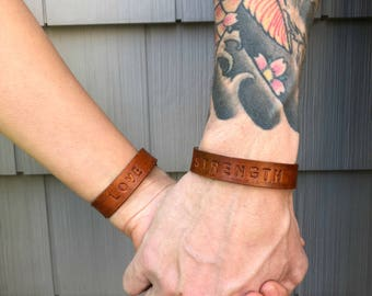 Personalized Leather Cuff, Leather Mantra Cuff, Leather Cuff Bracelet, Hand Stamped Leather Cuff, Stamped Leather Bracelet, Mantra Cuff