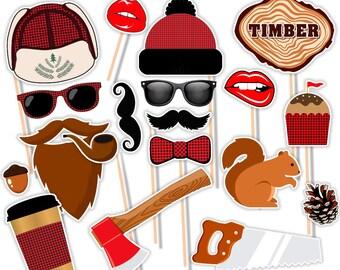 Lumberjack Party, Lumberjack Party Printables, Lumberjack Photo Props, Lumberjack Photo Booth Props, Lumberjack Photo Booth,Instant Download