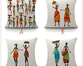 Elegante Africa Tribal Dancing Printed Square Throw Pillow Covers Pillowcases Cushion Covers
