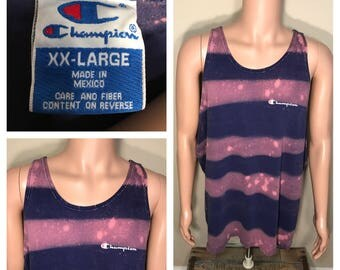 Rare // Champion vintage tank top // muscle tshirt // spell out bluish purple // adult size xxl 2xl // faded distressed bleached shirt //