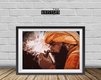 Smoking Sadhu, Sadhu wall Print, Maha-Kumbh Festival, Culture, Portrait Photography, Fine Art Print, Printable Indian Sadhu portrait