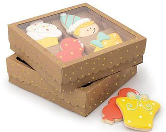 Sweet Sugarbelle Kraft Cookie Boxes, Cookie, Royal Icing, Treats, Baking, Risers, Gold Dot