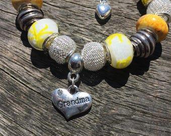 European Charm Bracelet, European Bracelet Gift For Grandmas Birthday Gift, Grandma Bracelet, Yellow Bracelets, European Charm Bead Bracelet