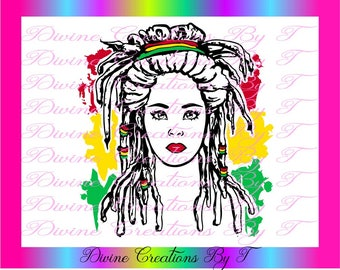 Rasta Queen BW ( Svg, Dxf, EPS ) (made by me)
