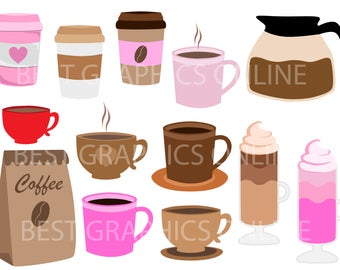 80% OFF SALE Commercial use clip art, Coffee clip art, Coffee cup clipart, Coffee mug clipart, Coffee pot image clip art, Coffee time GR5