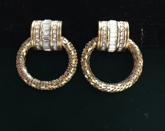Vintage Signed Whiting and Davis Rhinestone and Gold Tone Clip-on Earrings