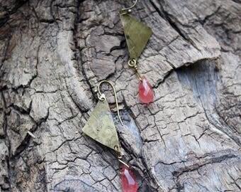 Pink Stone & Brass Earrings