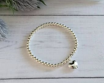Silver Bracelet, Silver Heart Bracelet, Stretch Bracelet, Silver Heart Jewellery, Bracelets for Women, Stacking Bracelet, Gift for women