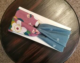 Dusty Turquoise + Mauve Floral Boho Turban Style Headband