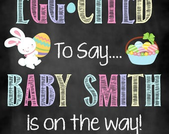 Eggcited to Say Easter Pregnancy Announcement, Pregnancy Announcement