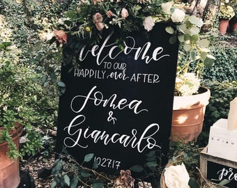 "Wedding Welcome Sign // 26""x30"" // Stained Wood // Custom"