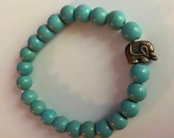Elephant Charm Turquoise Beaded Bracelet