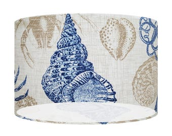 Seashell Handmade Fabric Lamp Shade, 20 30 40 Drum Lampshade, Nautical, Seaside, Coral, Home Decor Gift, Ceiling, Table/Floor Lightshade