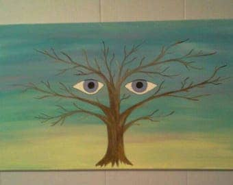 The Seeing Tree, tree painting, tree art tree with eyes, tree with eyes painting