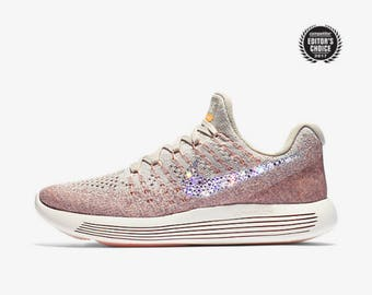 crystal Nike Lunarepic Low Flyknit 2 Bling Shoes with Swarovski Crystals Women's Running Shoes Sunset Glow Pale Gray
