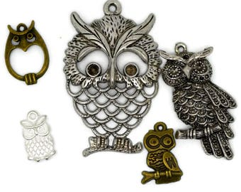 owl collection, five owls, owl pendants, owl charms, metal owls, owl for necklace, owl for bracelet, owl for earrings