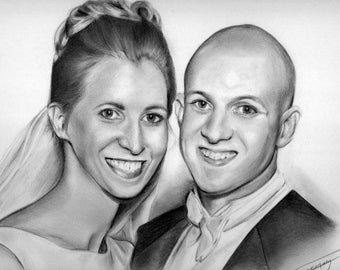 Hand-drawn Graphite Pencil Portrait from your favorite photo. Makes a treasured gift for a loved one! 2 subjects 11x14