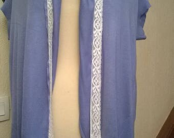 Long vest in sky blue cotton and silk