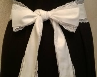 Thin white satin fabric belt and lace