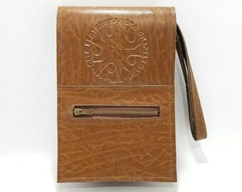 Man purse - Men's brown leather bag - Passport phone pouch - Travel handbag -  Gift for him