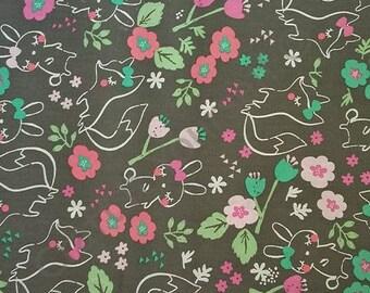 fox and bunny 100% cotton fabric 44 inch / 110cm rabbit grey