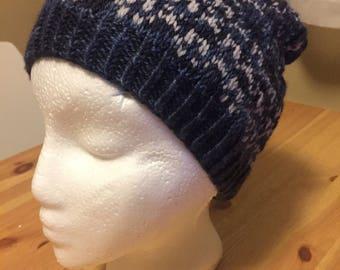 Fan design hat, dark blue hat, knit hat, wool hat, stranded knitting