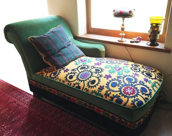 Suzani chaise with pillow