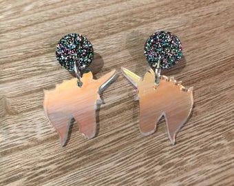 Iridescent Unicorn Dangle Earrings- Aussie Made + Hypoallergenic